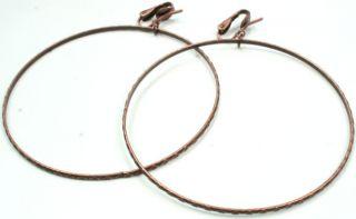 Clip on Hoop Earrings Huge Antique Copper Hoops Massive
