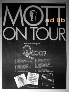 MOTT THE HOOPLE WITH SUPPORT ACT QUEEN UK TOUR POSTER SIZE ADVERT 1973