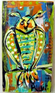 What A Hoot Owl Original Wood Painting Whimsical Brut Outsider Folk