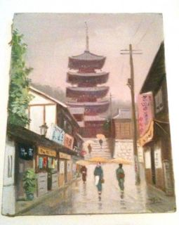 Hayashi Nobuo Oil Painting Japanese Street Scene 1950S