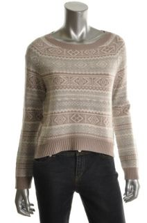 Hayden New Taupe Cashmere Crew Neck Long Sleeves Crop Pullover Sweater
