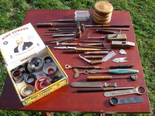 Assorted Antique Watchmaker Repairs Tools Lot