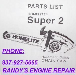 Parts List Manual IPL Homelite Super 2 Chainsaw