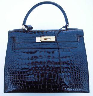 Hermes Kelly Bag Black Alligator Authentic Mint Unused