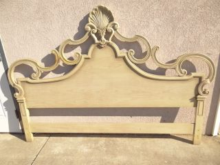 French pierce shell carved solid wood bed headboard regency king size