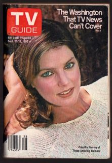TV Guide Magazine September 20 1980 Priscilla Presley Amazing Animals