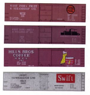 boxcars West India Fruit, Hills Bros Coffee, Swift Silver printed