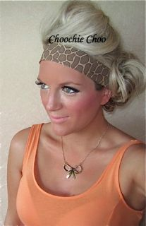 Brown Giraffe Animal Print Vtg Head Hair Band Choochie