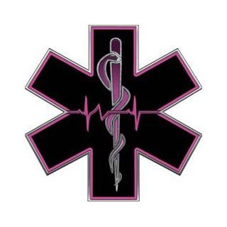 Pink EMT EMS Star Of Life With Heartbeat   2 h