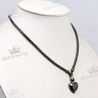Black Hematite Column Bead Heart Shape Pendant Necklace