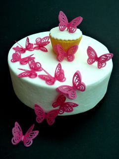 12 x HOT PINK DOUBLE 3D BUTTERFLIES PRE CUT EDIBLE RICE PAPER CUP CAKE