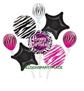 Birthday Party Decor on Zebra Pink Black Birthday Party Supplies Jungle Balloons 9 Hot