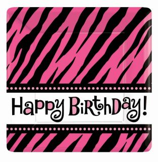 Fabulous 10 Square Dinner Plates Hot Pink Zebra Birthday Party