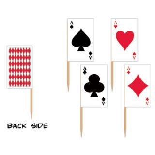 50 PLAYING CARDs FLAG Picks cupcake food appetizer party treats poker