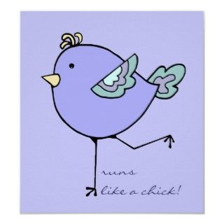Love Running with Cute Cartoon Chick, Bird custom Print