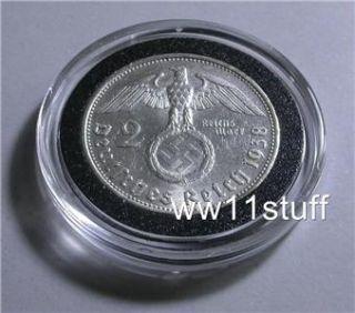 WWII 1938 2 Reichsmark Silver Nazi Coin w Swastika Hitler