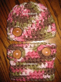 Crochet Baby Boy Diaper Cover and Beanie Hat in Pink Camo Ready to
