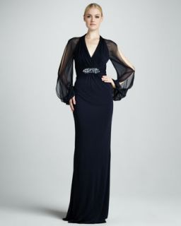 T5Y0G David Meister Cold Shoulder Empire Waist Gown