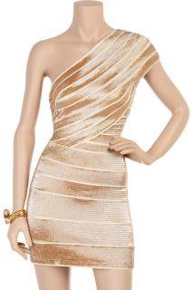 7250Herve Leger Dress Gown Gold Camille Jennifer Lopez Embellished