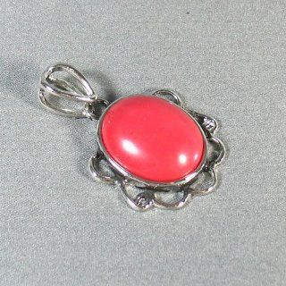 Silver Plated Red Stone Pendant Fancy Pendant   Ladies