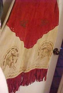 Suede Handpainted leather poncho J.R. Palacios Mexico Horse head