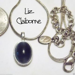 Signed LC Liz Claiborne Dark Blue Moonglow Glass Pendant Necklace