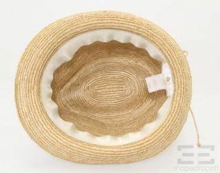 Helen Kaminski Natural Raffia Tie Bow Fedora Hat O S