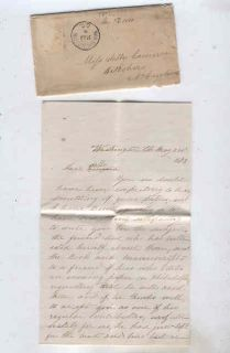oldhal Letter/Washington DC/1873 to Hillsboro, NC