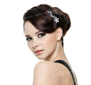 Plated Flower Rhinestone Bridal Hair Tiara Pin 2 Comb Hot
