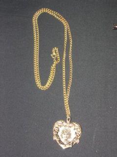 Gold Flower Heart Locket Picture Holder Necklace 30