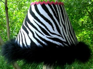 Boutique Style Zebra Lamp Shade w Black Boa and Hot Pink Trim