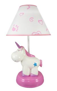 Adorable Pink White Unicorn Childrens Table Lamp
