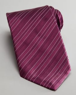 N1VE9 Stefano Ricci Tonal Stripe Silk Tie, Purple