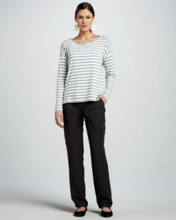 Striped Boat Neck Slub Top, Organic Top & Cargo Pants, Petite   Neiman