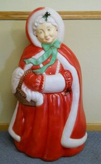 BLOW MOLD PLASTIC CHRISTMAS OUTDOOR YARD LIGHT MRS SANTA CLAUS 40