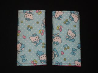 Hello Kitty on Blue w Polka Dots Bowtie Baby Car Seat Strap Covers