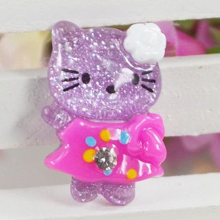 Resin Glitter Hello Kitty Cats Flat back appliques craf t Cabochon T67