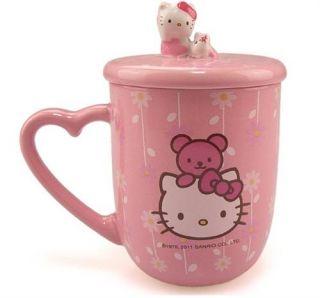 1XHello Kitty Fashion Cartoon Ceramic Coffee CupWith Lid