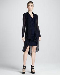 Donna Karan Long Draped Tunic & Cap Sleeve Cowl Dress