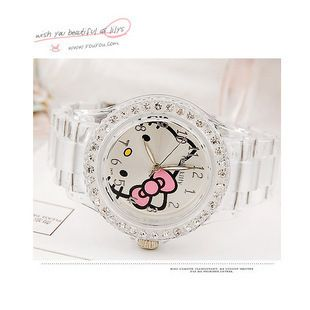 Hello Kitty Watch with Crystal Stone Quartz Wrist Watch WHITE