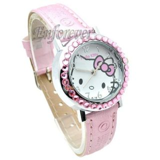 Hello Kitty Watch Wristwatch Crystal Stone Quartz KW267