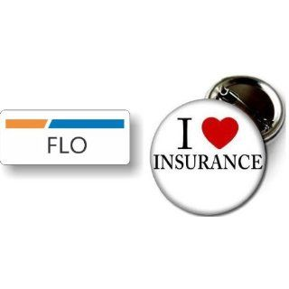 Flo Nametag & I Love Insurance Pin Badge Button Clothing