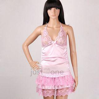 Women Sexy Lingerie Babydoll Dress Lace Cake Skirt Halter Night Robe G