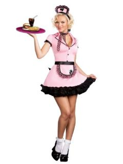 Cute 50s Costume Waitress Costume Pink Uniform Service 50s