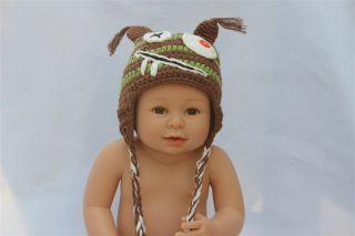 New Pink Green Monster Tasmanian Devil Newborn Baby Child Knit Hat
