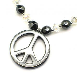 Hematite Healing Stone Peace Sign Crystal Necklace New