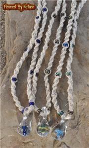 Green Mushroom Glass Pendant Spiral Hemp Necklace Hippie Choker