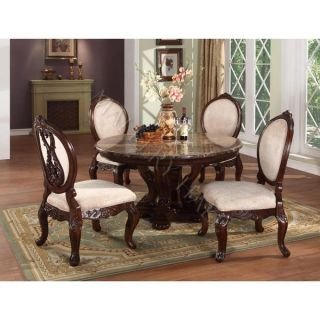 Dark Brown Marble Top Round Dining Table
