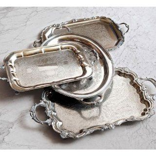 Antique Silver Butler Tray   Medium Tray