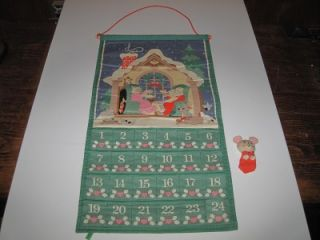 Vintage 1987 Avon Cloth Christmas Advent Countdown Calendar with Mouse